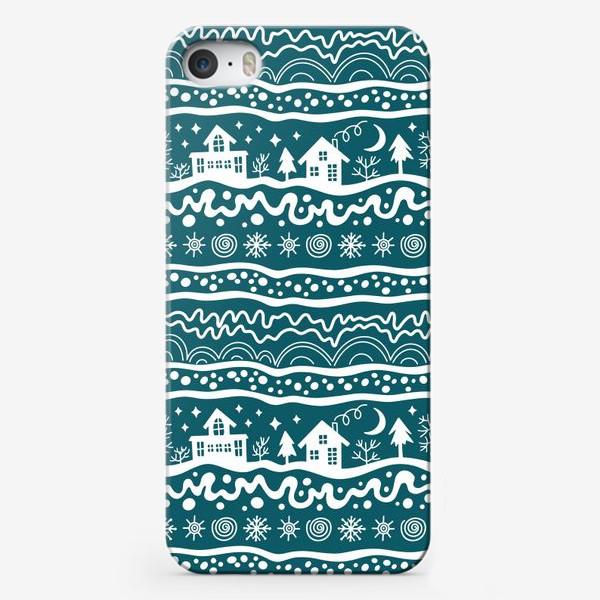 Чехол iPhone «зима паттерн сине-зеленый»