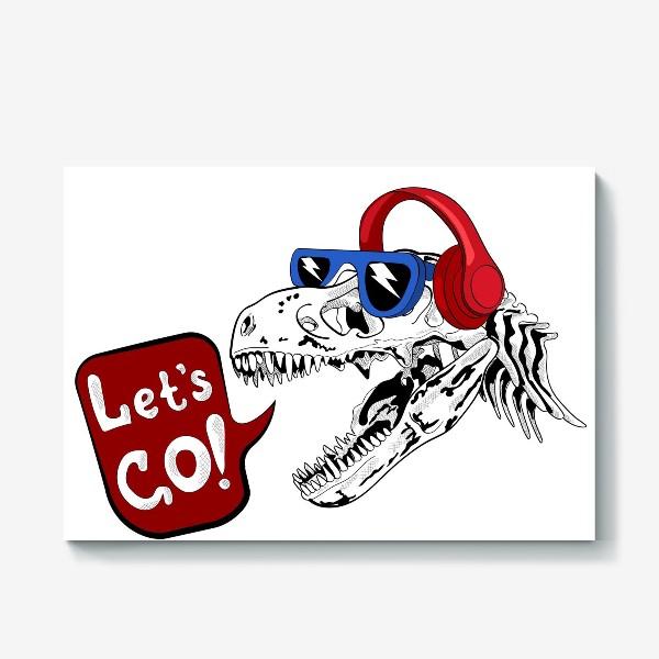 Холст «Тираннозавр Рекс в очках и наушниках»