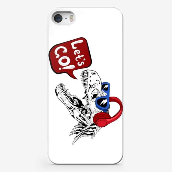 Чехол iPhone «Тираннозавр Рекс в очках и наушниках»