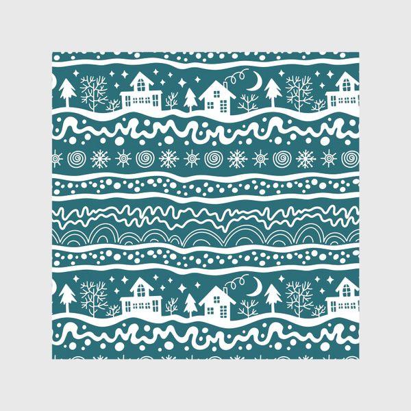 Скатерть «зима паттерн сине-зеленый»