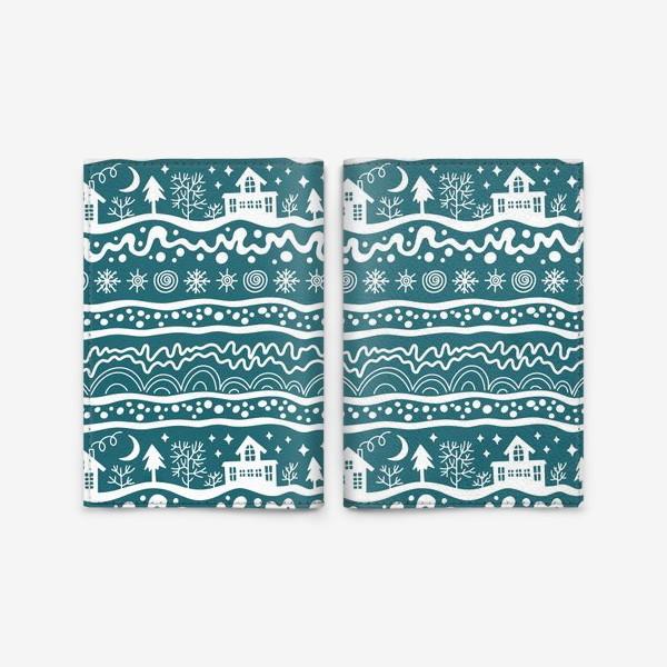 Обложка для паспорта «зима паттерн сине-зеленый»