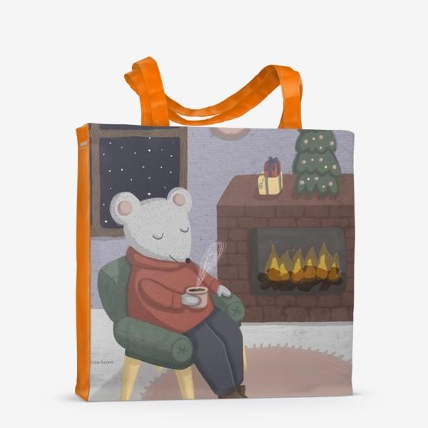 Сумка-шоппер «Новогодняя мышка в уютной комнате»