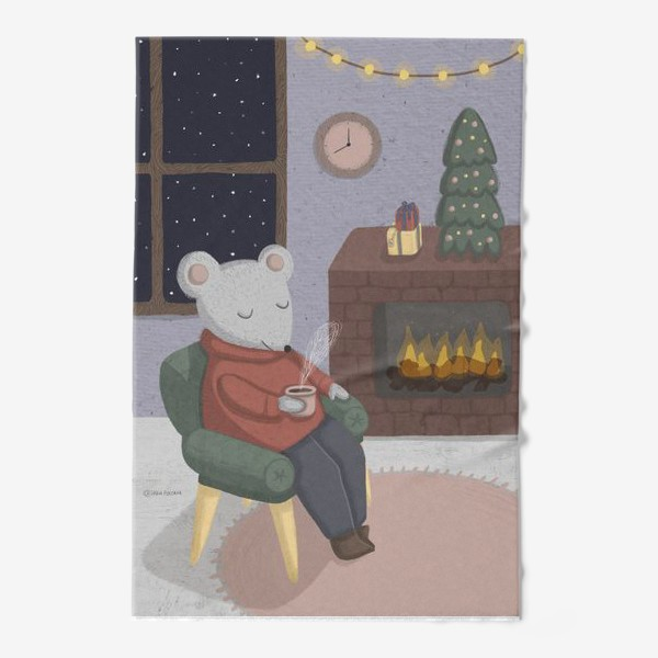 Полотенце «Новогодняя мышка в уютной комнате»