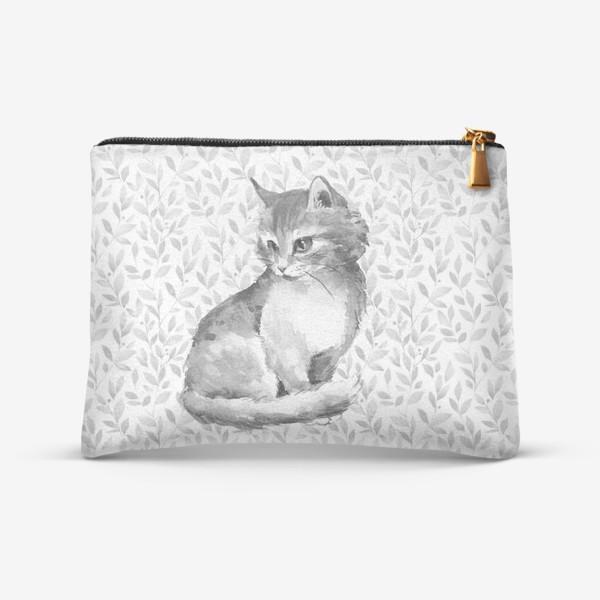 Косметичка «Котенок. Черно-белая акварель»
