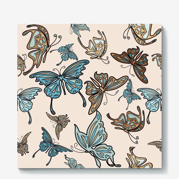 Холст «Бабочки на бежевом фоне, паттерн»