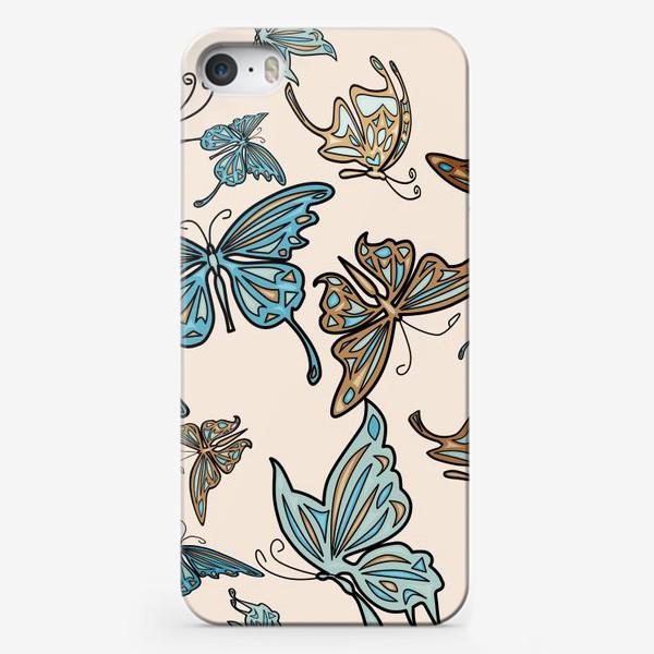 Чехол iPhone «Бабочки на бежевом фоне, паттерн»