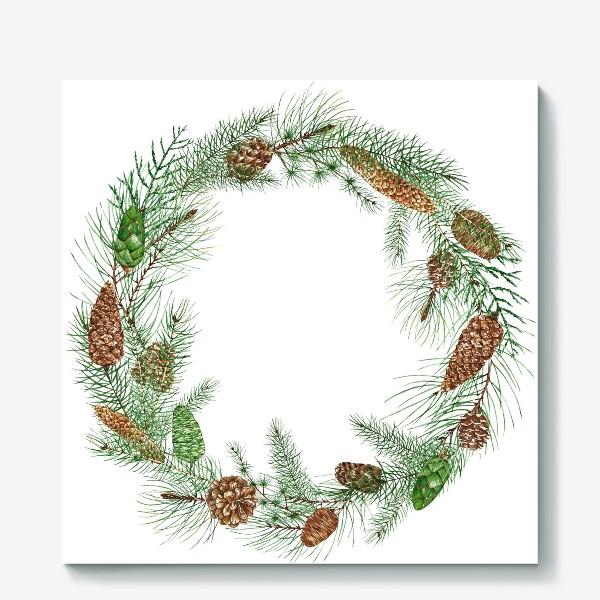 Холст «новогодная акварельная  иллюстрация, гирлянда с еловыми ветками и шищками»