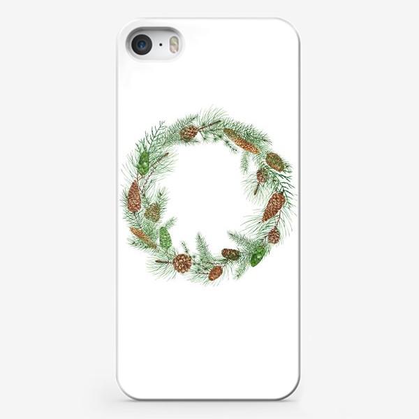 Чехол iPhone «новогодная акварельная  иллюстрация, гирлянда с еловыми ветками и шищками»