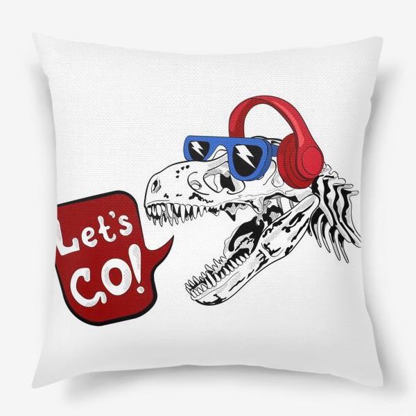 Подушка «Тираннозавр Рекс в очках и наушниках»