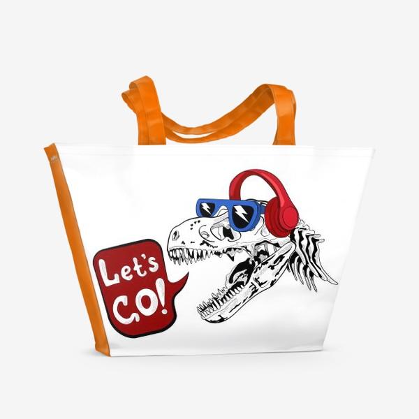 Пляжная сумка «Тираннозавр Рекс в очках и наушниках»