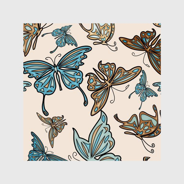 Шторы «Бабочки на бежевом фоне, паттерн»