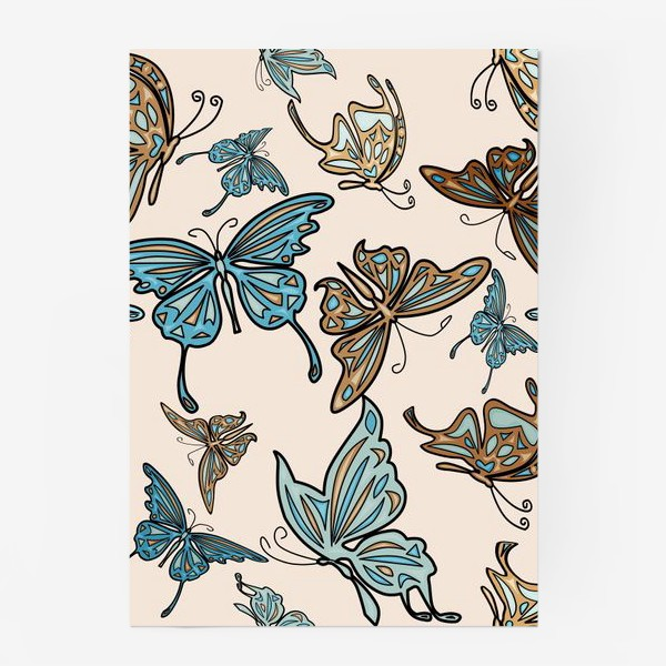 Постер «Бабочки на бежевом фоне, паттерн»