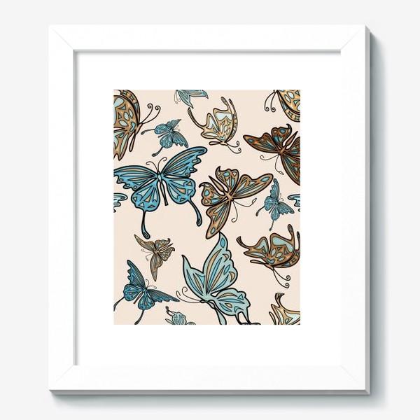 Картина «Бабочки на бежевом фоне, паттерн»