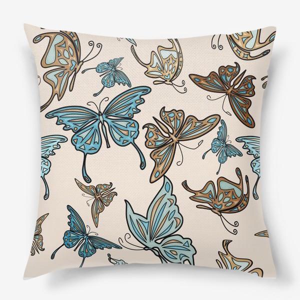 Подушка «Бабочки на бежевом фоне, паттерн»