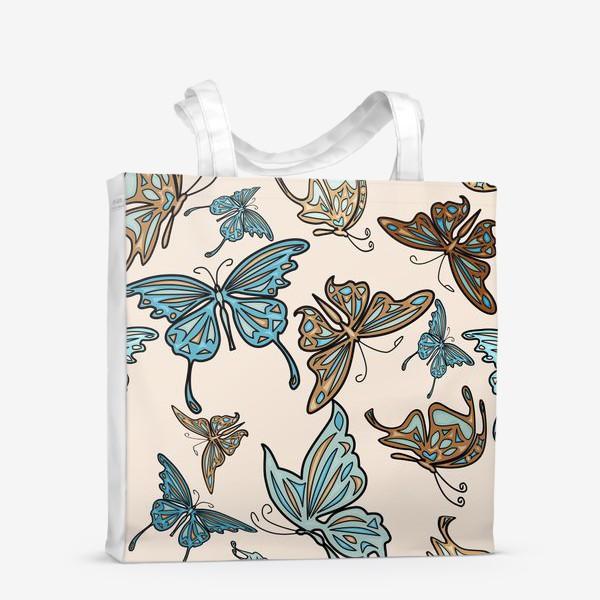 Сумка-шоппер «Бабочки на бежевом фоне, паттерн»