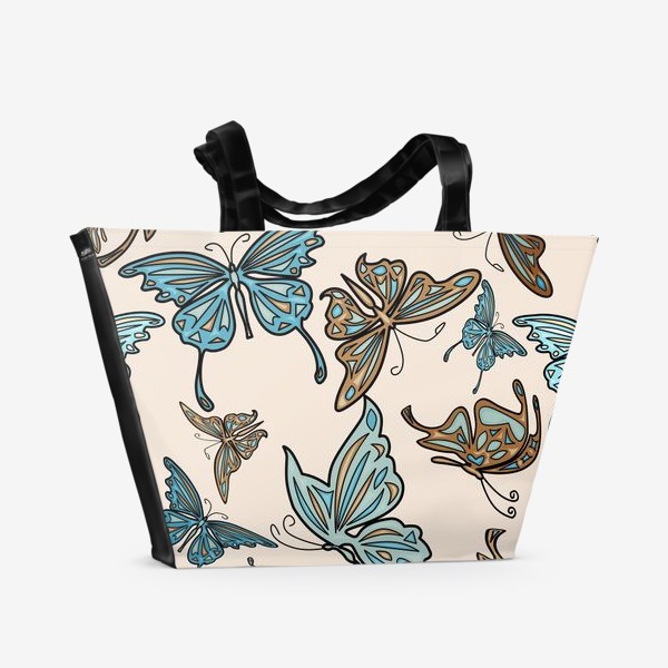 Пляжная сумка «Бабочки на бежевом фоне, паттерн»