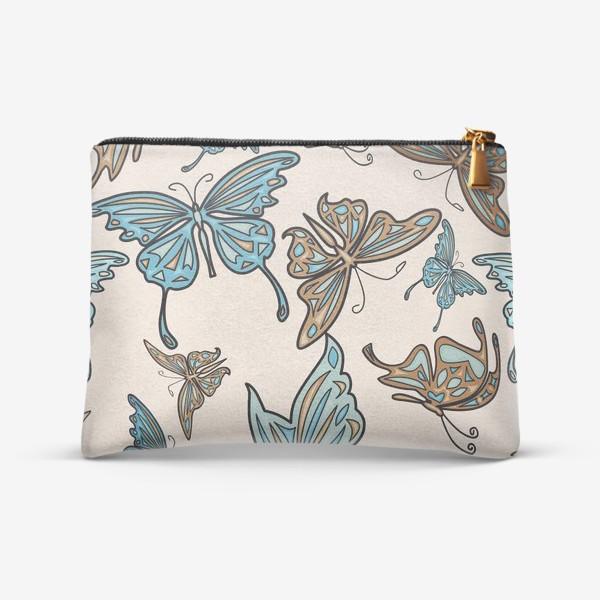 Косметичка «Бабочки на бежевом фоне, паттерн»