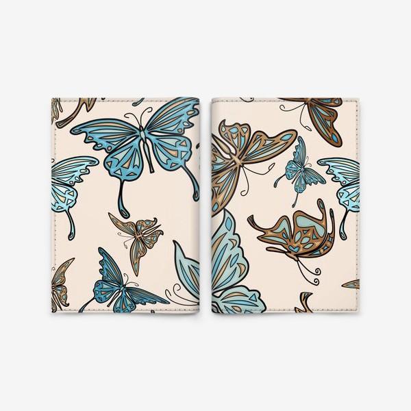 Обложка для паспорта «Бабочки на бежевом фоне, паттерн»