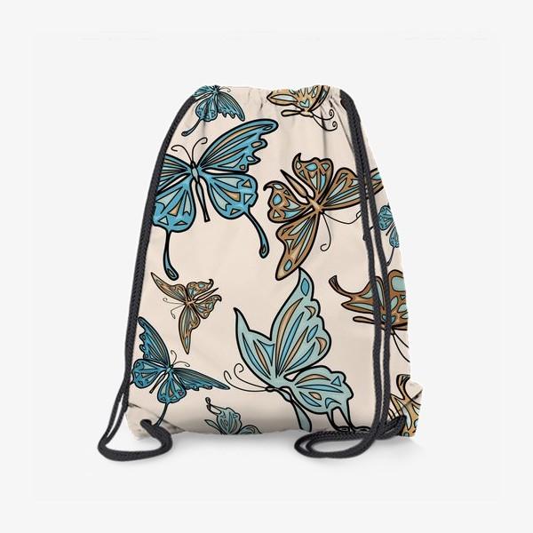 Рюкзак «Бабочки на бежевом фоне, паттерн»