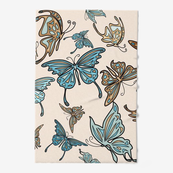 Полотенце «Бабочки на бежевом фоне, паттерн»