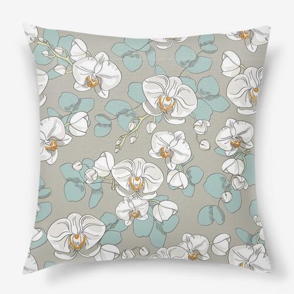 Подушка «Любимые цветы-белые орхидеи»