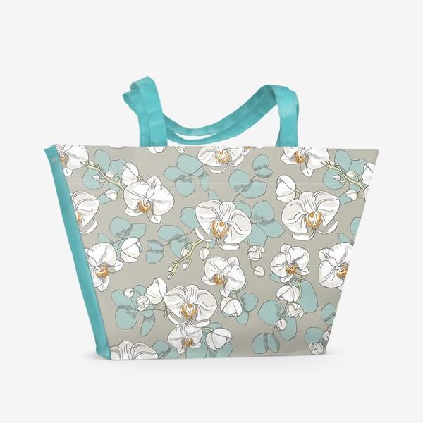 Пляжная сумка «Любимые цветы-белые орхидеи»