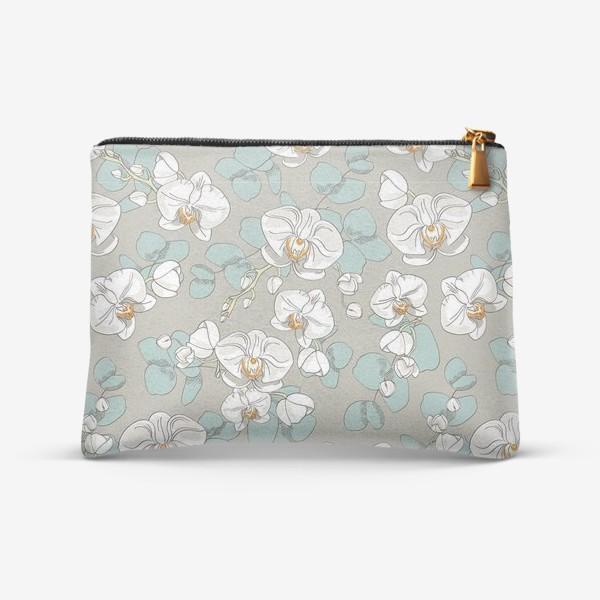 Косметичка «Любимые цветы-белые орхидеи»