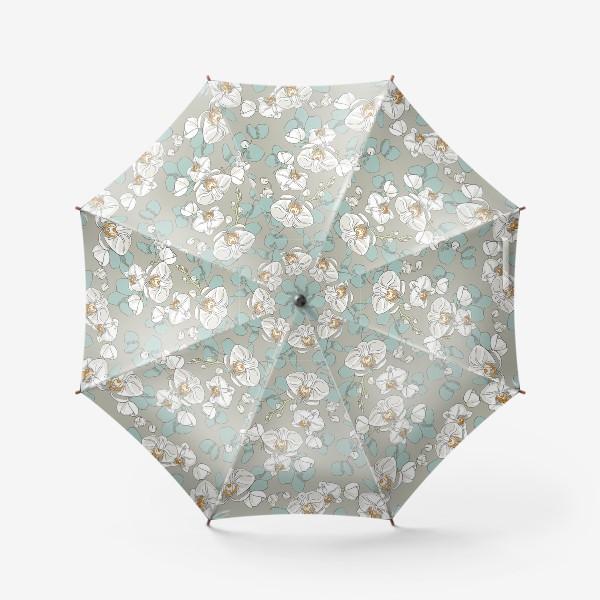 Зонт «Любимые цветы-белые орхидеи»