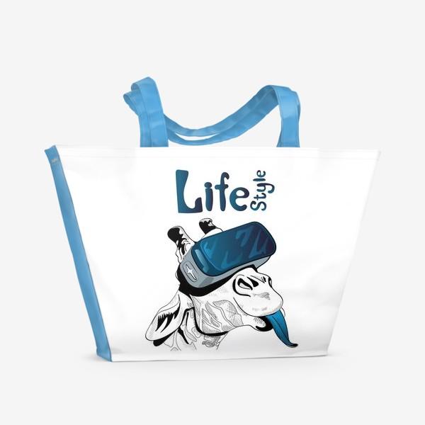 Пляжная сумка «Стиль жизни. Жираф в очках виртуальной реальности»