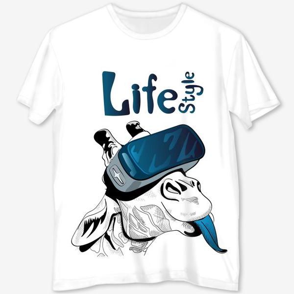 Футболка с полной запечаткой «Стиль жизни. Жираф в очках виртуальной реальности»