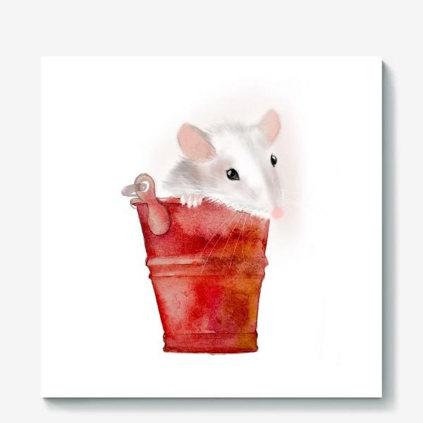 Холст «Мышка в ведерке»