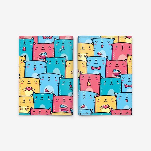 Обложка для паспорта «Паттерн Разноцветные Кавайные Котята»