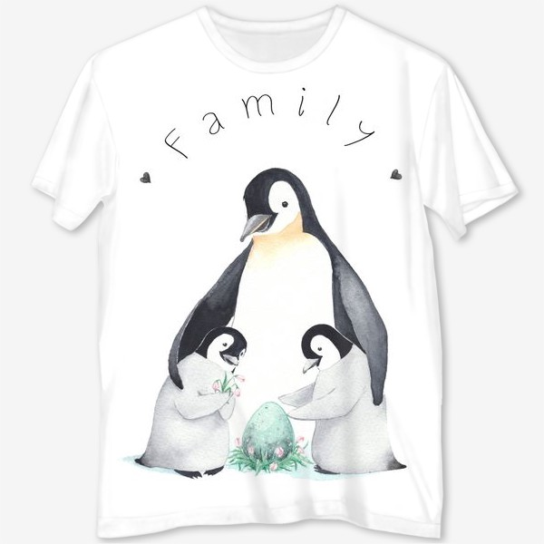 Футболка с полной запечаткой «Семья пингвинов с яйцом»