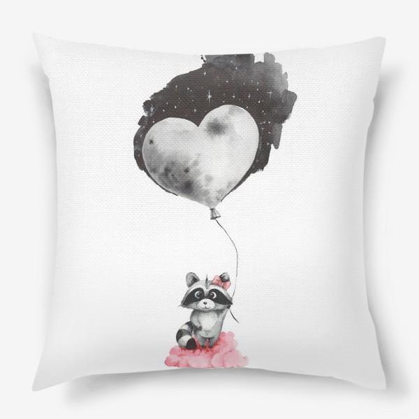 Подушка «Енот-девочка с воздушным шаром-луной»