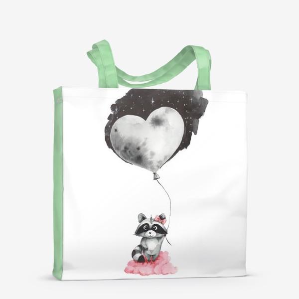 Сумка-шоппер «Енот-девочка с воздушным шаром-луной»
