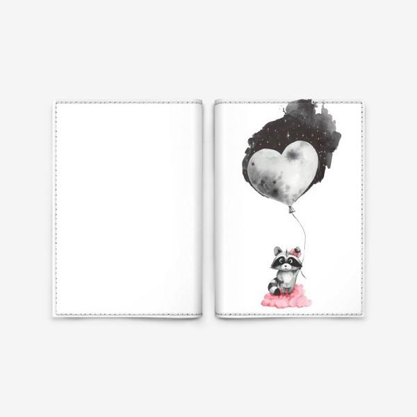 Обложка для паспорта «Енот-девочка с воздушным шаром-луной»