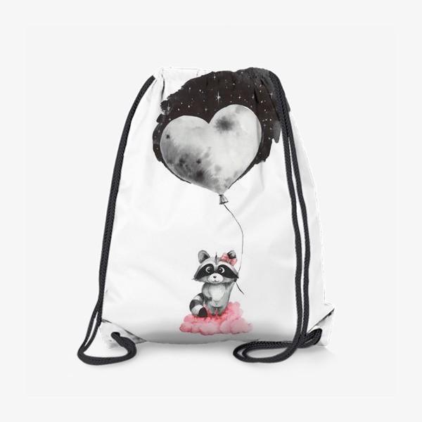 Рюкзак «Енот-девочка с воздушным шаром-луной»