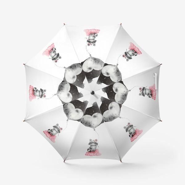 Зонт «Енот-девочка с воздушным шаром-луной»