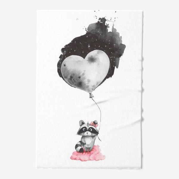 Полотенце «Енот-девочка с воздушным шаром-луной»