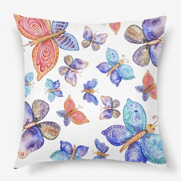 Подушка «бесшовный паттерн Бабочки»
