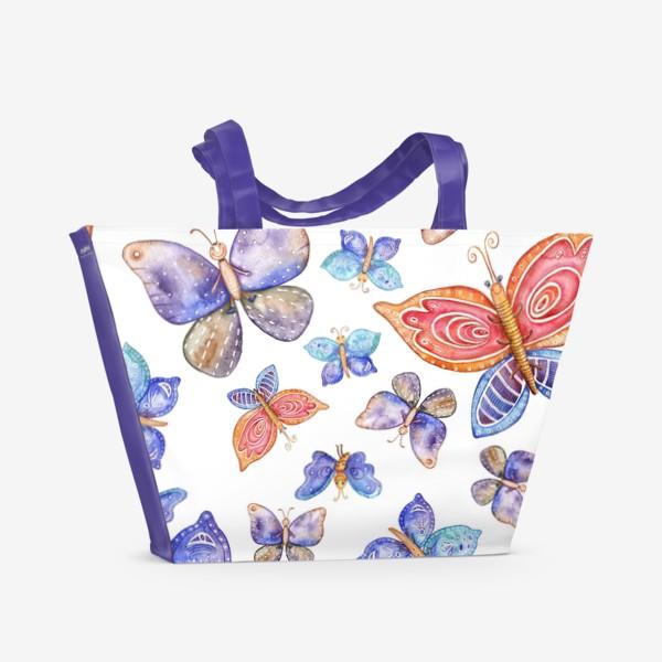 Пляжная сумка «бесшовный паттерн Бабочки»