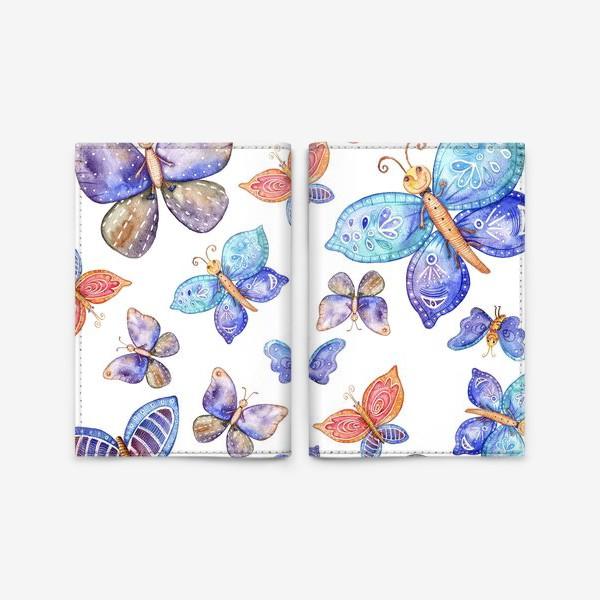 Обложка для паспорта «бесшовный паттерн Бабочки»