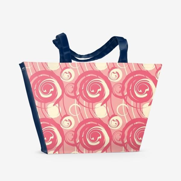 Пляжная сумка «Абстрактный паттерн круги и спирали»