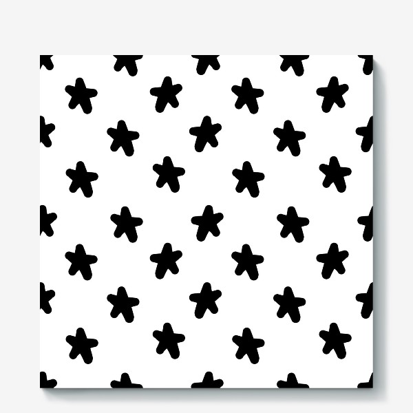 Холст «Cute stars black on white»