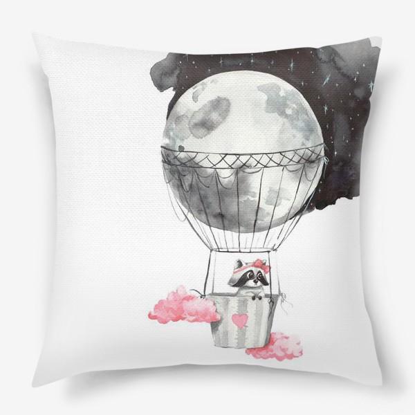 Подушка «Енот-девочка на воздушном шаре-луне»