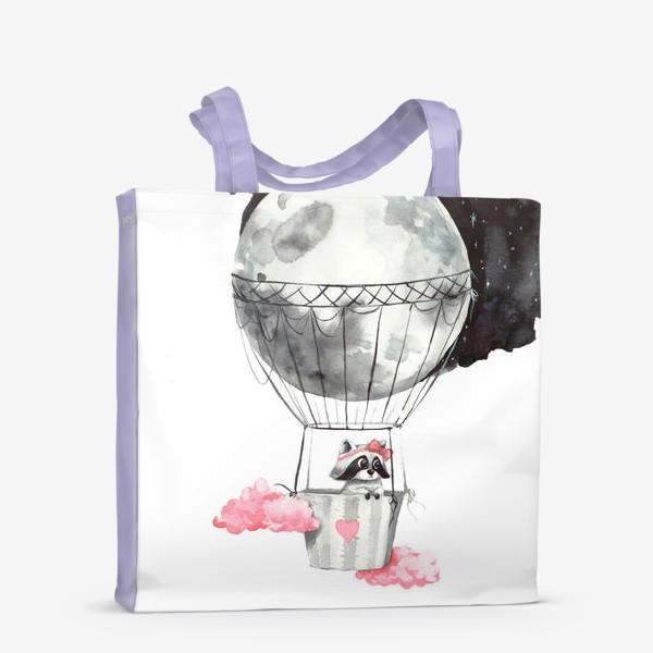 Сумка-шоппер «Енот-девочка на воздушном шаре-луне»