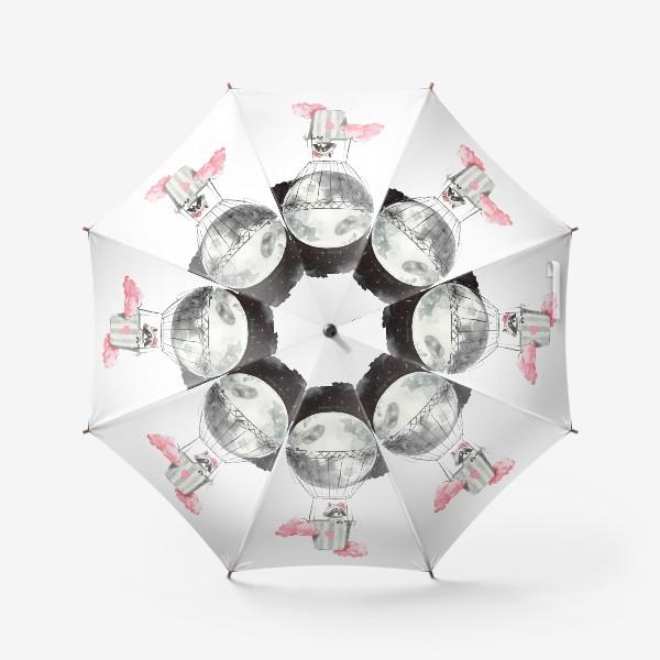 Зонт «Енот-девочка на воздушном шаре-луне»