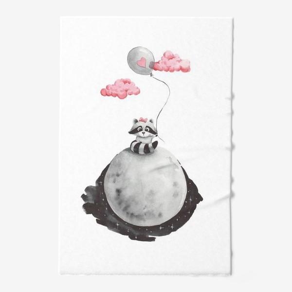 Полотенце «Енот-девочка на луне с воздушным шаром»
