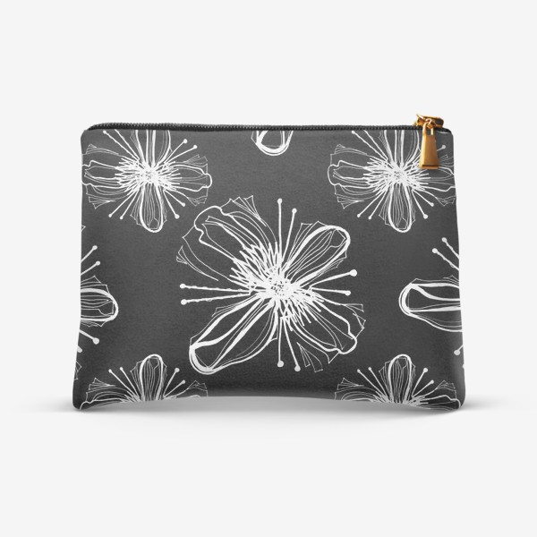Косметичка «Hand drawn white flowers on black»