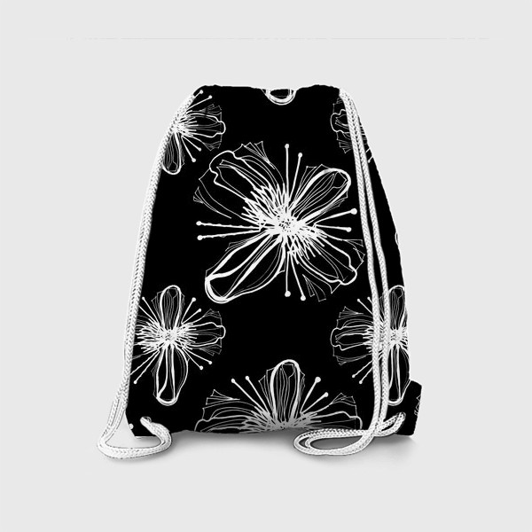 Рюкзак «Hand drawn white flowers on black»